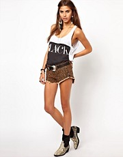 One Teaspoon Bandit Denim Shorts in Distressed Denim