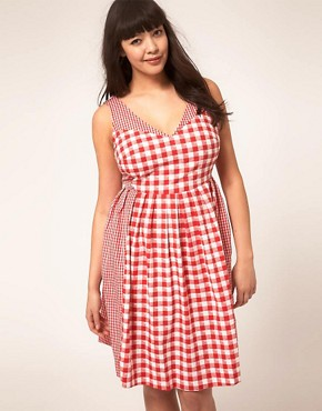 Image 4 ofASOS CURVE Exclusive Sundress In Gingham