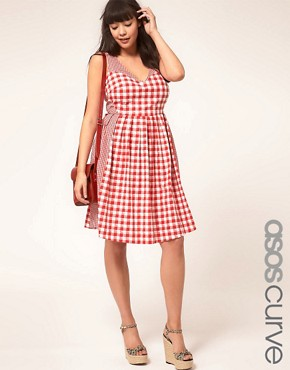 Image 1 ofASOS CURVE Exclusive Sundress In Gingham
