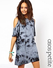 ASOS PETITE Shift Dress In Tie Dye With Cold Shoulder