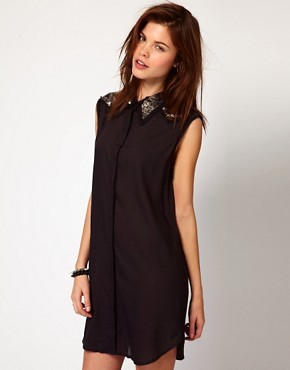 Image 1 ofDiesel Shirt Dress With Sequin Collar