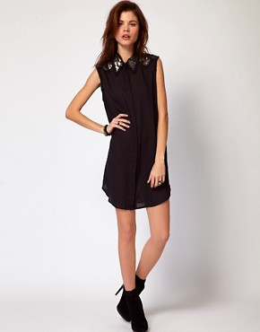 Image 4 ofDiesel Shirt Dress With Sequin Collar