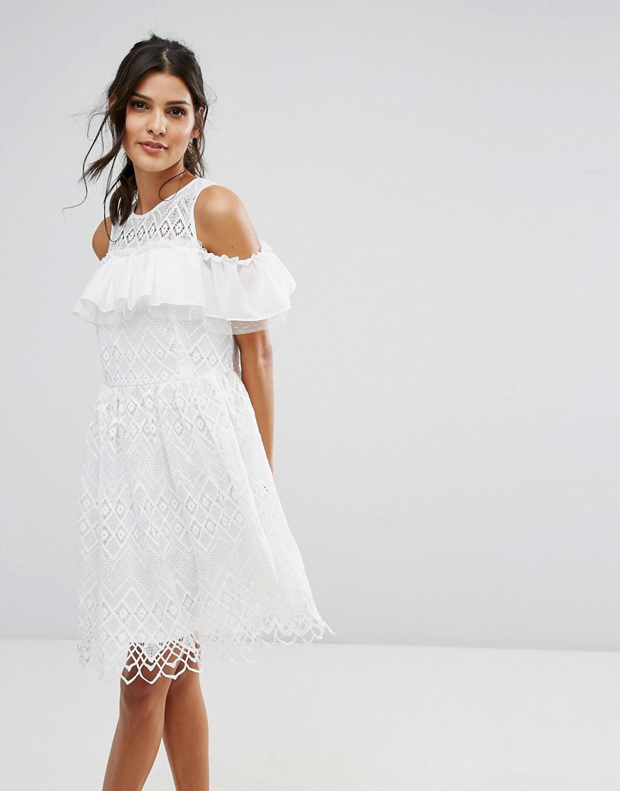Amy Lynn Cold Shoulder Lace Dress - White