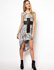 Glamorous Tie Dye Midi Dress With Studded Cross