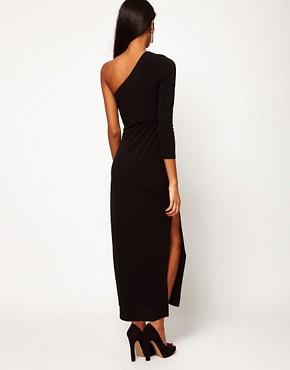Image 2 ofASOS PETITE Exclusive Maxi Dress With One Shoulder And Split Skirt