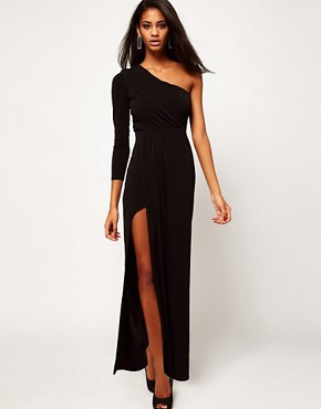 Image 4 ofASOS PETITE Exclusive Maxi Dress With One Shoulder And Split Skirt
