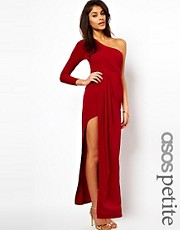 ASOS PETITE Exclusive Maxi Dress With One Shoulder And Split Skirt