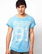 River Island Burnout T-Shirt with Harlem Numbers