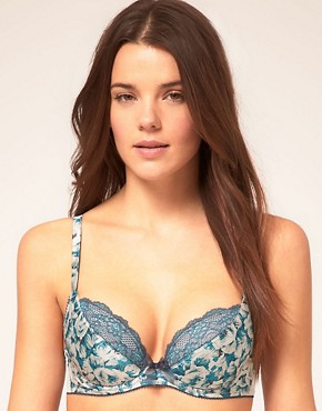 Image 1 ofGossard Padded Plunge Bra With Vintage Rose Print