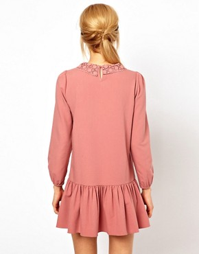 Image 2 ofASOS PETITE Exclusive Mini Dress With Crochet Collar And Drop Waist