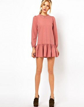 Image 4 ofASOS PETITE Exclusive Mini Dress With Crochet Collar And Drop Waist