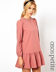 ASOS PETITE Exclusive Mini Dress With Crochet Collar And Drop Waist