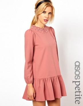 Image 1 ofASOS PETITE Exclusive Mini Dress With Crochet Collar And Drop Waist
