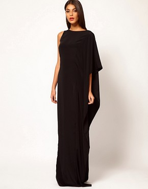 Image 1 ofAqua Brill Asymmetric Cape Side Maxi Dress
