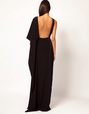 Image 2 ofAqua Brill Asymmetric Cape Side Maxi Dress