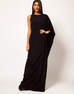 Image 4 ofAqua Brill Asymmetric Cape Side Maxi Dress