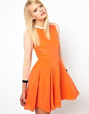 Antipodium Vector Dress In Orange Silk And Power Mesh