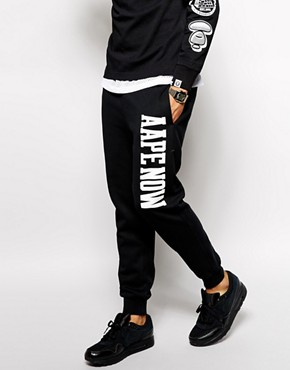 Now AAPE Joggers With AAPE NOW Print (Black)