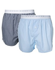 Boss Black 2 Pack Check Woven Boxers