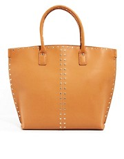 Mango Rivet Detail Structured Tote Bag