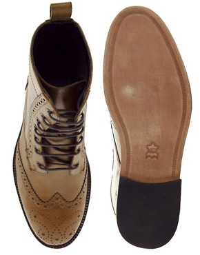 Image 3 of ASOS Brogue Boots With Leather Sole