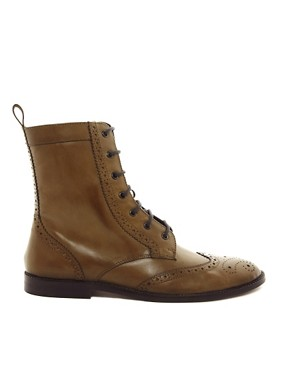 Image 4 of ASOS Brogue Boots With Leather Sole