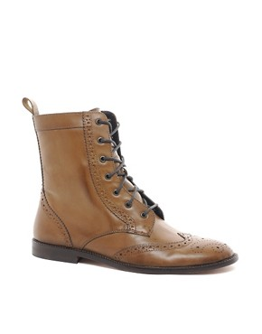 Image 1 of ASOS Brogue Boots With Leather Sole