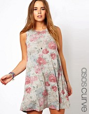 ASOS CURVE Exclusive Swing Dress In Faded Floral