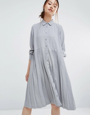 Zacro Oversized Shirt Dress With Pleated Hem
