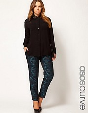 ASOS CURVE Exclusive Peg Trouser In Jacquard