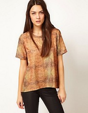Selected Printed Short Sleeve Shell Top