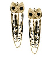 River Island Owl Studs With Chain Dangle Earrings