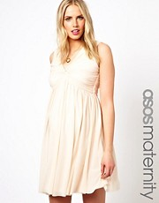 ASOS Maternity Knot Front V Back Dress