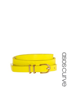 Image 1 ofASOS CURVE Neon Metal Keeper Super Skinny Waist Belt
