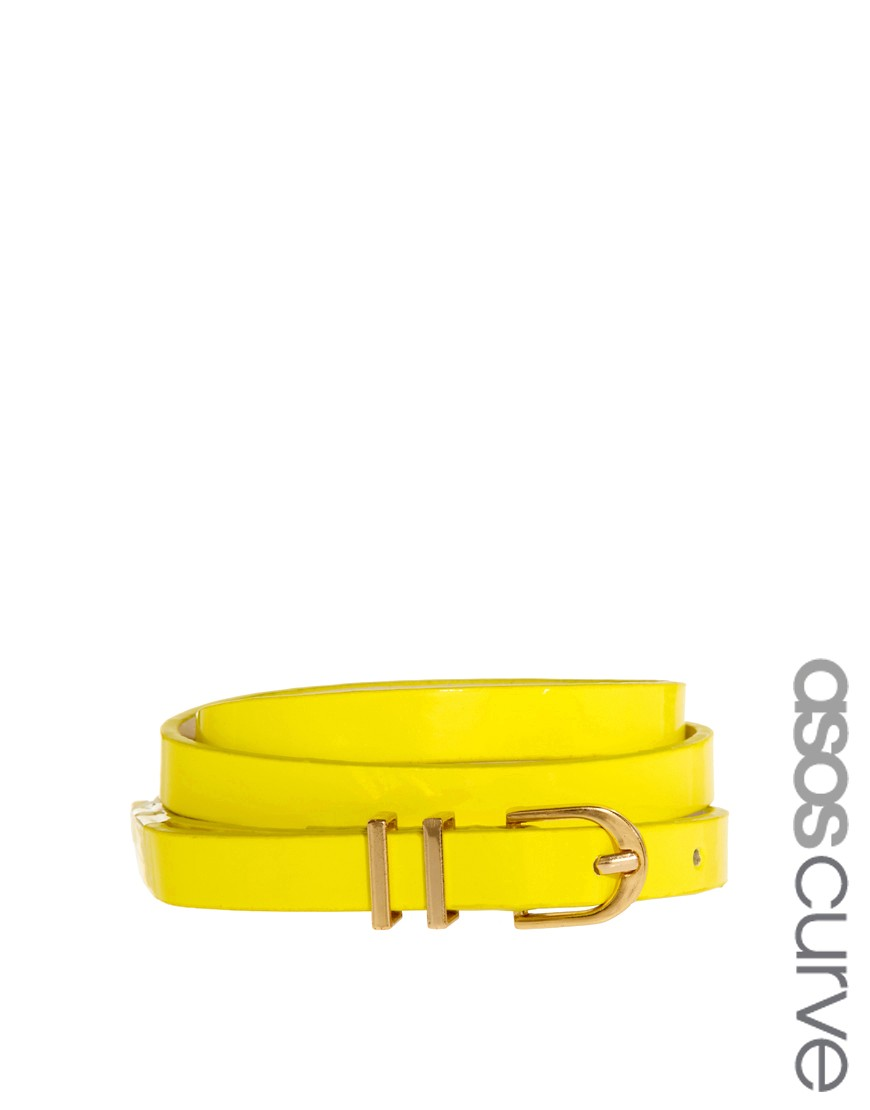 Image 1 of ASOS CURVE Neon Metal Keeper Super Skinny Waist Belt