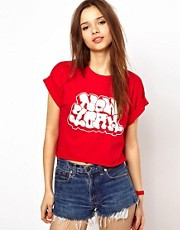 River Island NY Graffiti Crop Tee