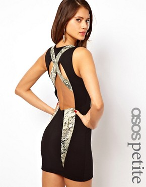 Image 1 of ASOS PETITE Exclusive Body-Conscious Dress With Leather Snake Look Panels