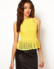 River Island Circle Lace Peplum Top