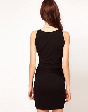 Image 2 ofMotel Bodycon Dress With Sheer Mesh Insert