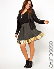 ASOS CURVE Skater Skirt with Metallic Hem