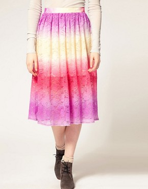Image 4 ofASOS Lace Full Skirt With Dip Dye Effect