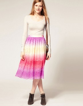 Image 1 ofASOS Lace Full Skirt With Dip Dye Effect