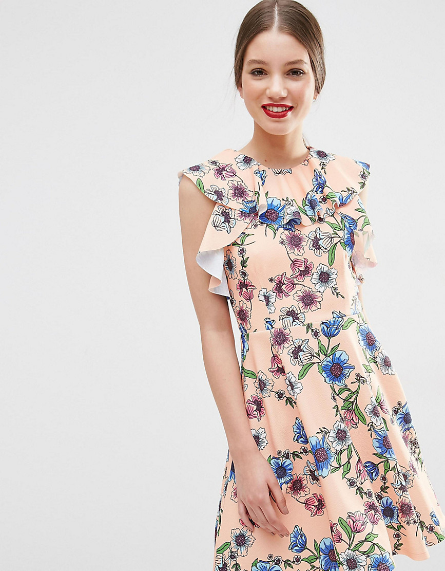 ASOS PETITE Ruffle Neck Skater Dress in Pretty Floral Print