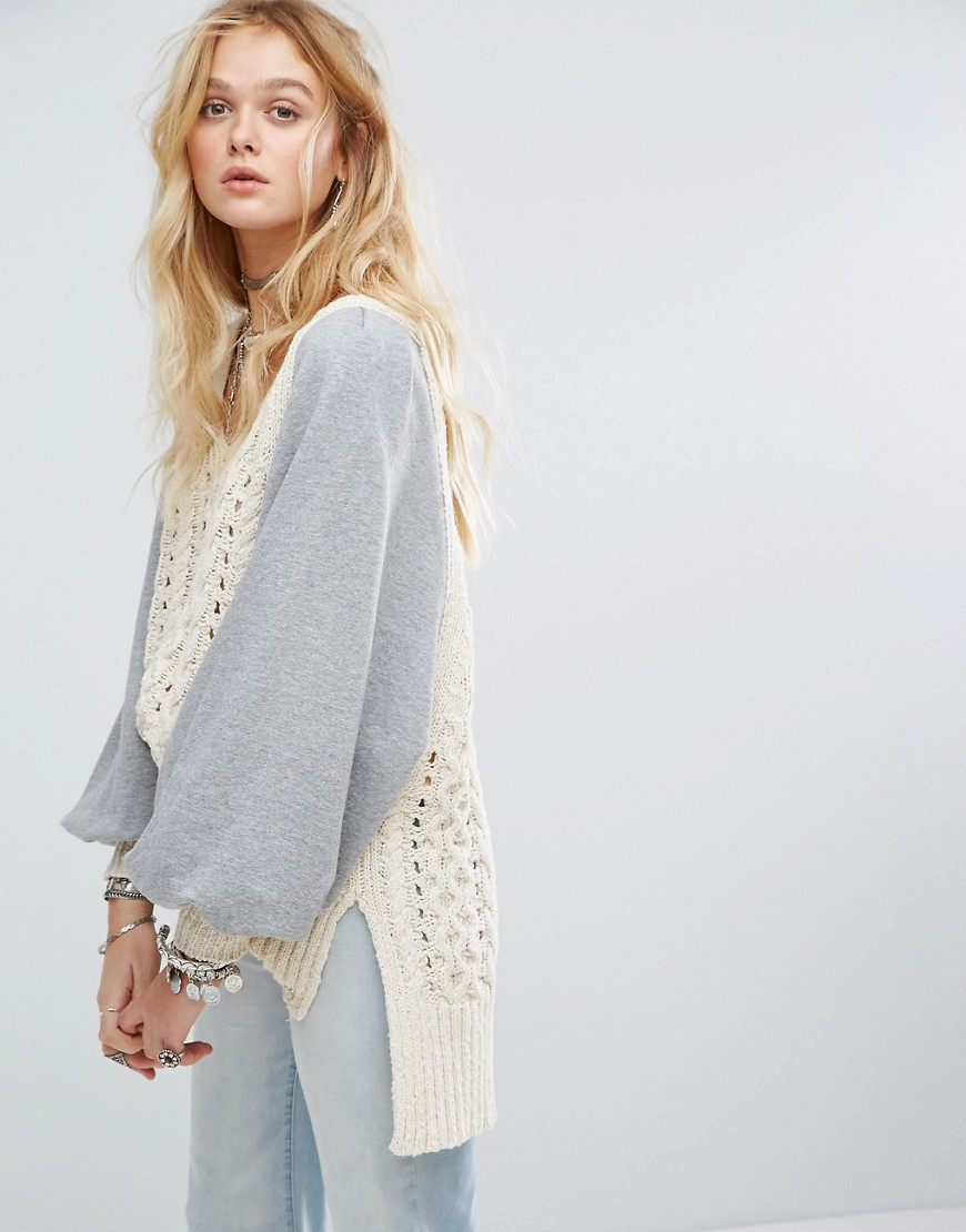 Free People Hideaway Cable Knit Jumper - Ivory