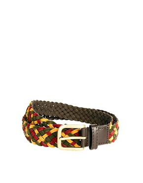 Image 1 ofASOS Red Mixed Plait Belt