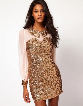Image 1 ofRare Sequin Collar And Cuffs Shift Dress