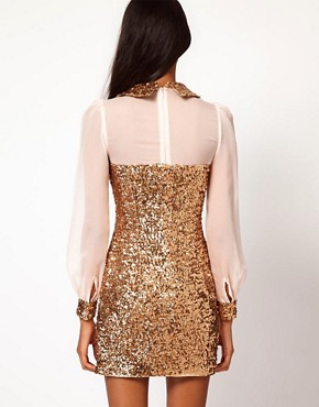 Image 2 ofRare Sequin Collar And Cuffs Shift Dress