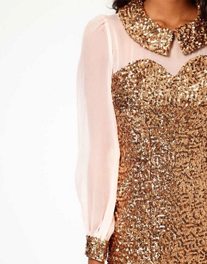 Image 3 of Rare Sequin Collar And Cuffs Shift Dress