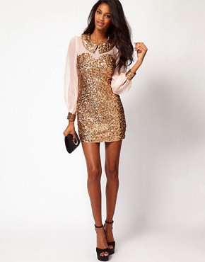 Image 4 ofRare Sequin Collar And Cuffs Shift Dress