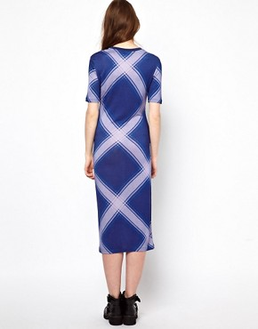 Image 2 ofHouse of Holland Short Sleeve Midi Dress in Oversized Check